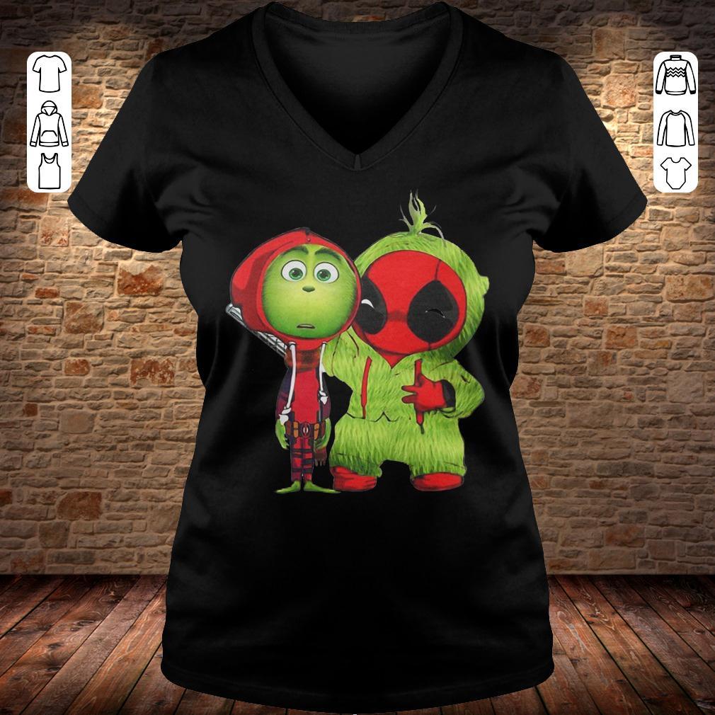 Grinch Baby Deadpool shirt Ladies V-Neck