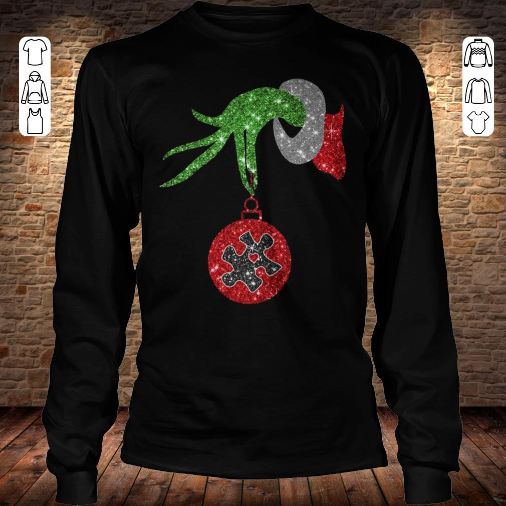 Grinch Hand Holds Autism Twinkle Ornament shirt Longsleeve Tee Unisex