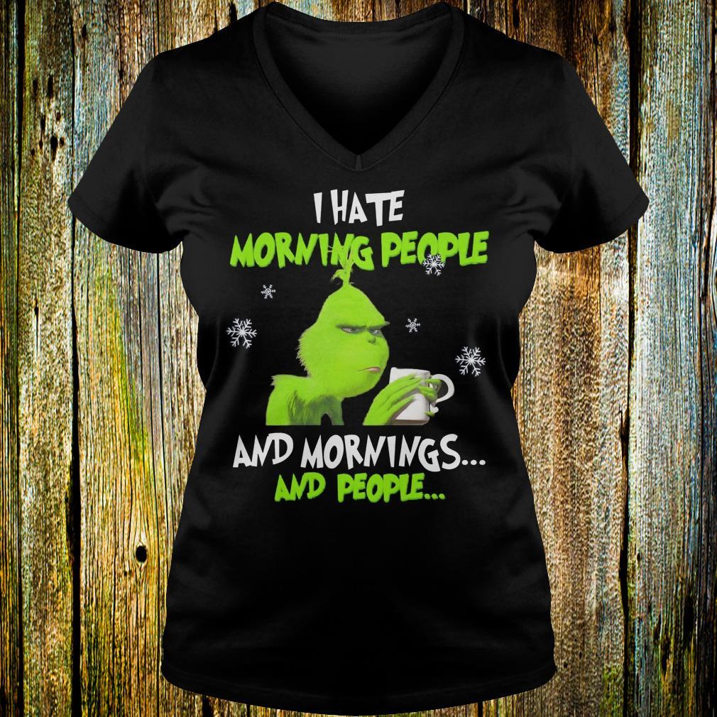 Grinch I hate morning people shirt Ladies V-Neck