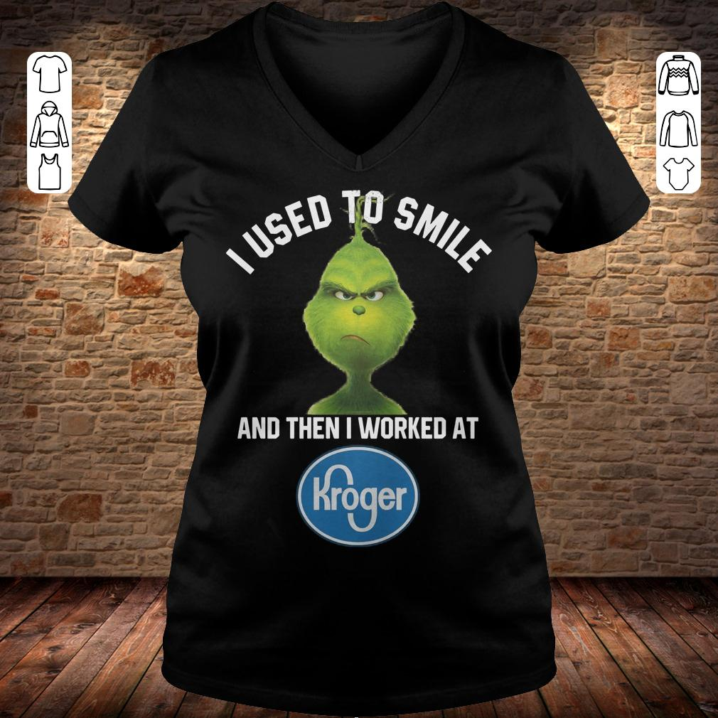 Grinch I used to smile and then i worked at Kroger shirt Ladies V-Neck