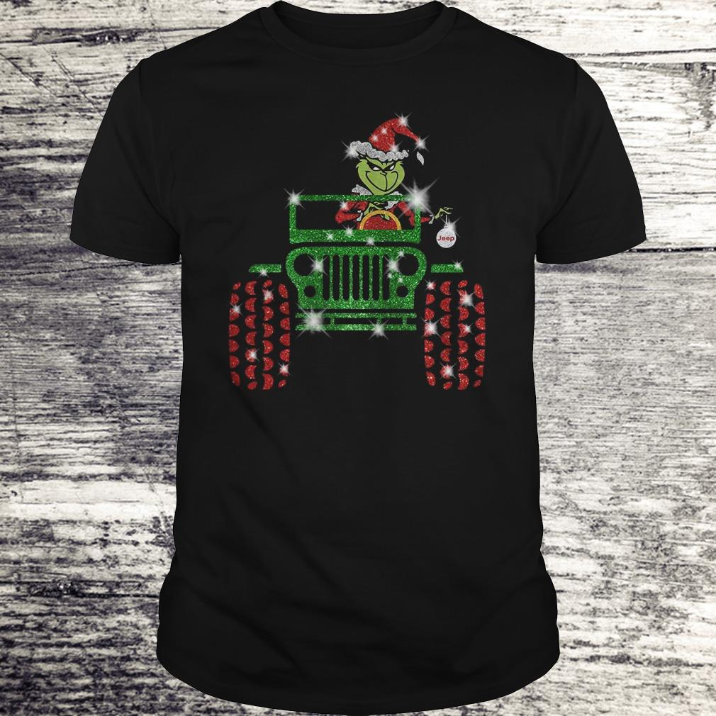 Grinch Jeep christmas hat sparkly glitter shirt Classic Guys / Unisex Tee