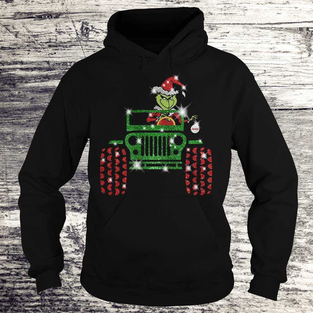 Grinch Jeep christmas hat sparkly glitter shirt Hoodie