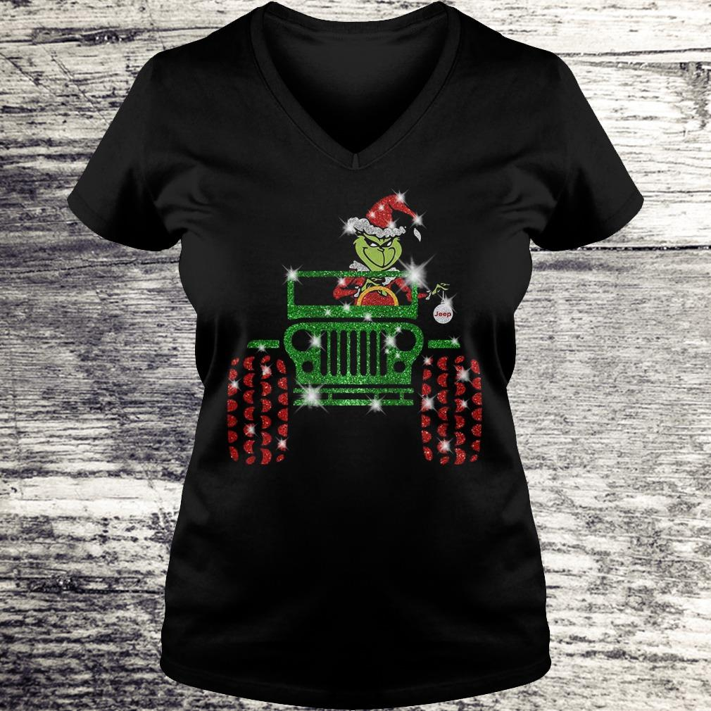 Grinch Jeep christmas hat sparkly glitter shirt Ladies V-Neck