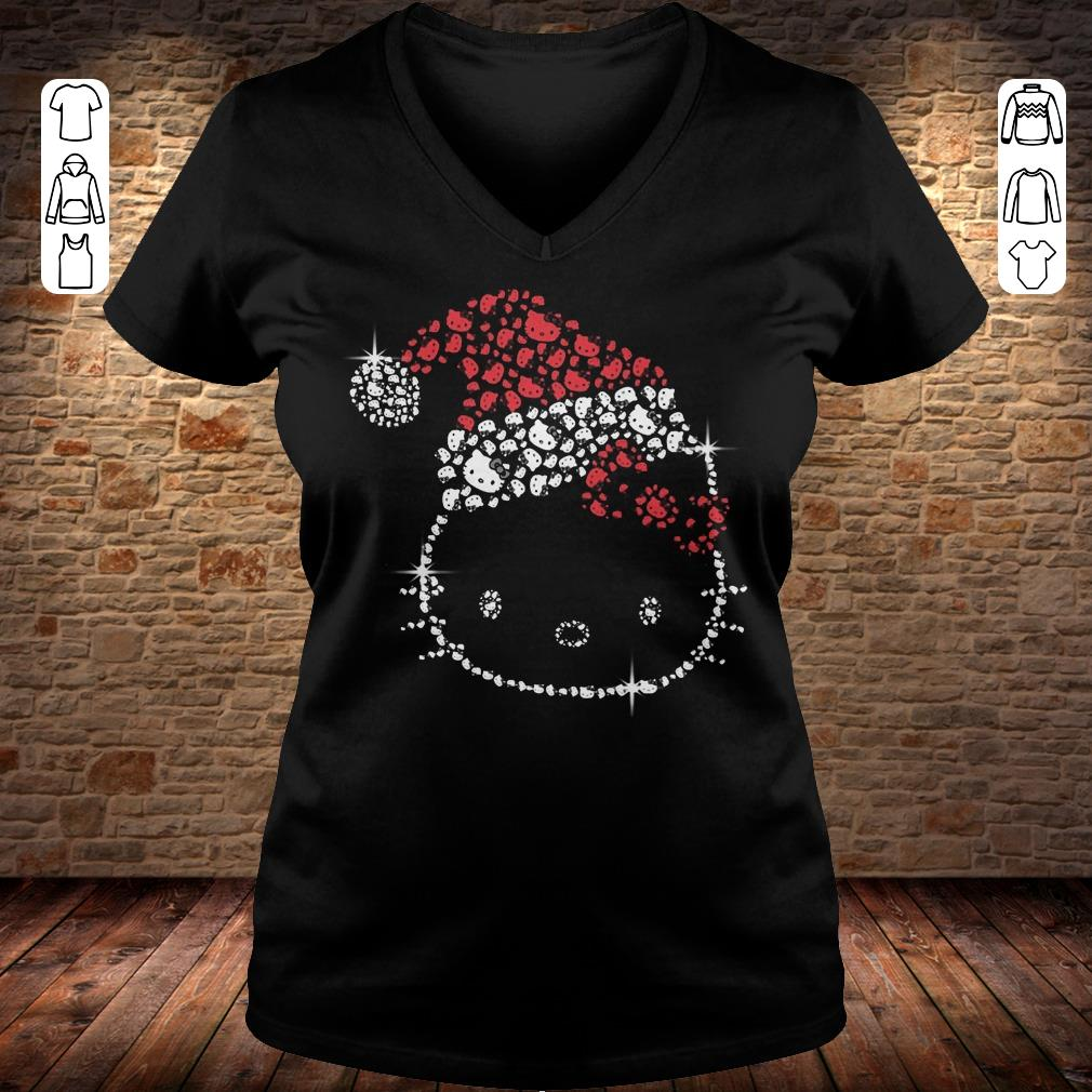 Hello Kitty Santa Hat Rhinestone shirt Ladies V-Neck