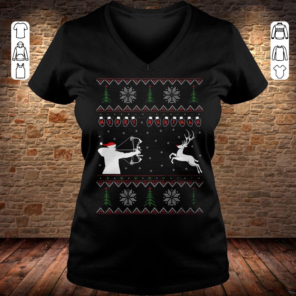 Merry huntmas sweater Ladies V-Neck