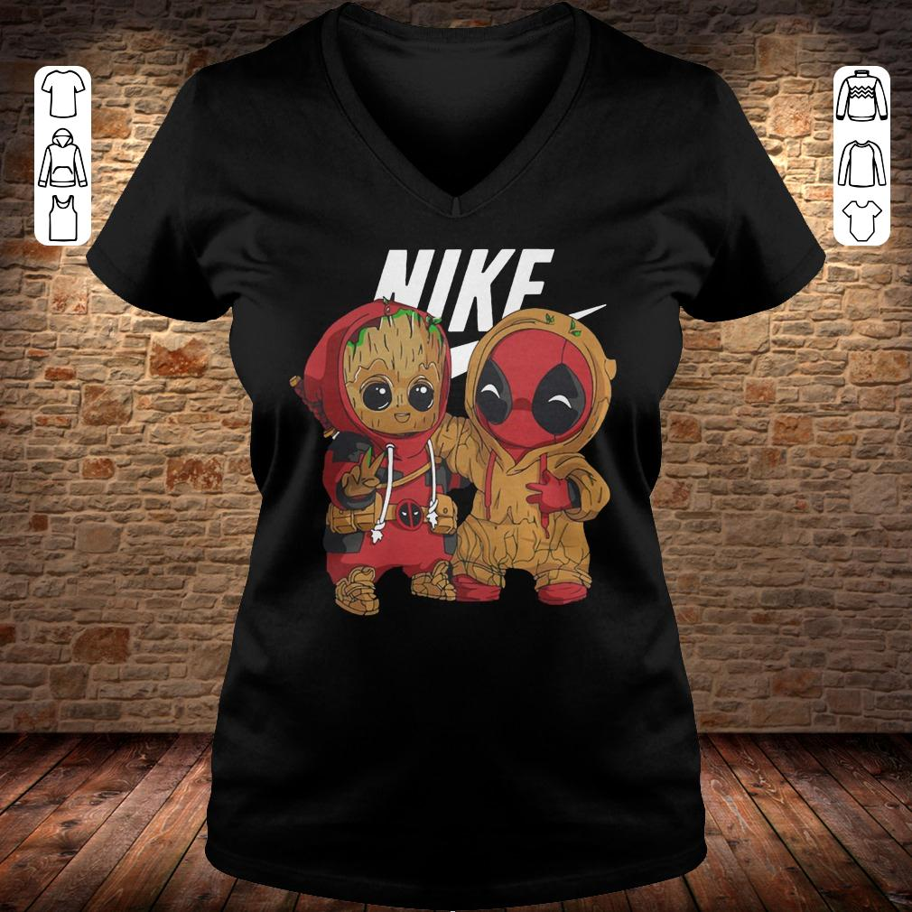 Nike Baby Groot And Deadpool shirt Ladies V-Neck
