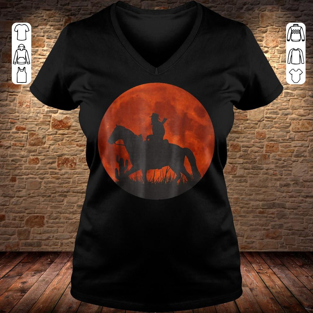 Red Moon Cowboy Red Dead Redemption shirt Ladies V-Neck