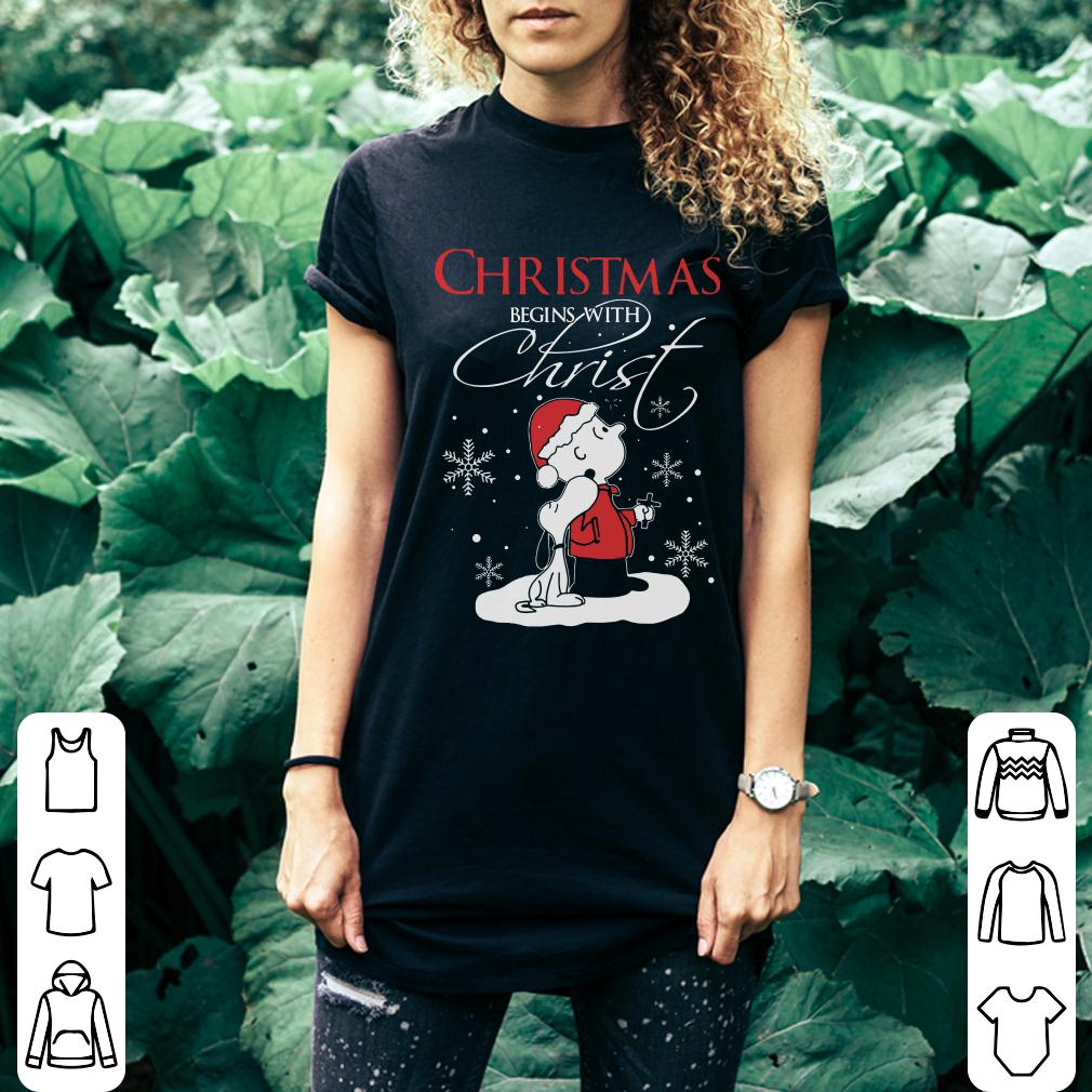 Snoopy and Charlie Brown christmas begins with christ shirt 2