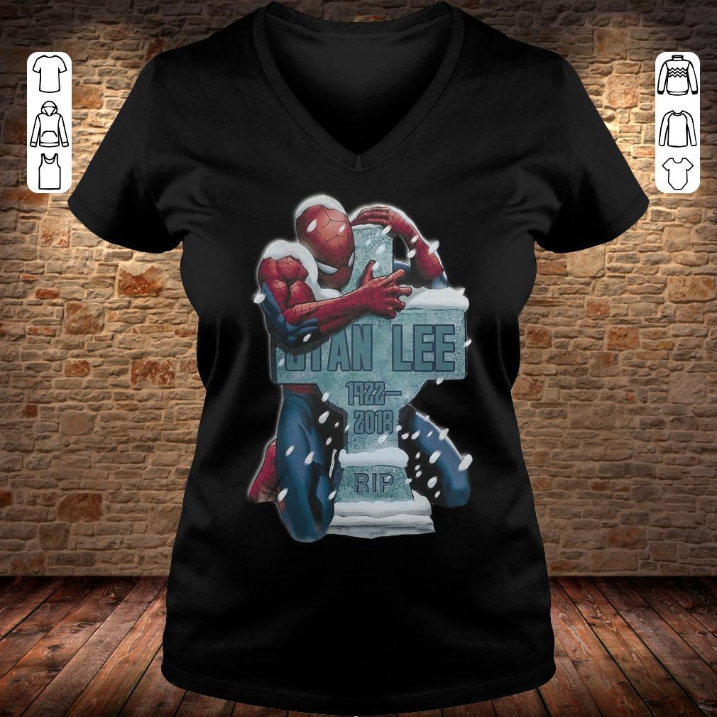 Spider Man hug grave Stan Lee shirt Ladies V-Neck