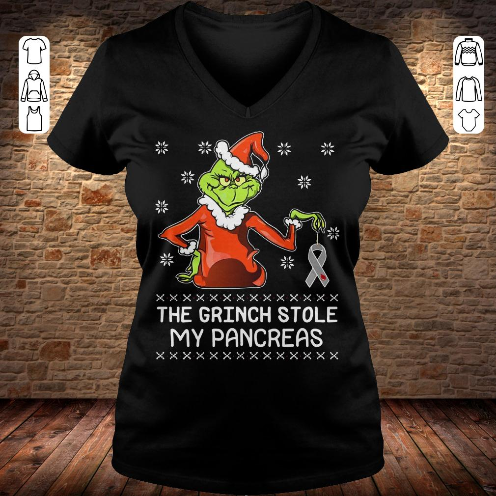 The grinch stole my pancreas shirt Ladies V-Neck