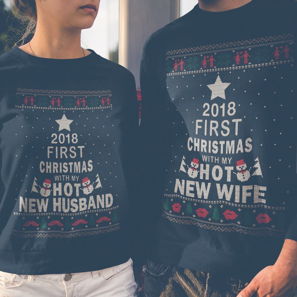2018 first christmas with my hot new husband shirt 1