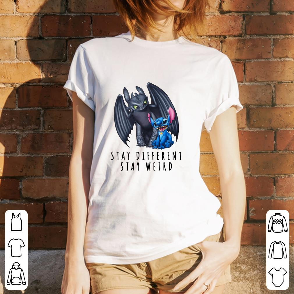 Toothless and Stitch Stay different stay weird shirt 3