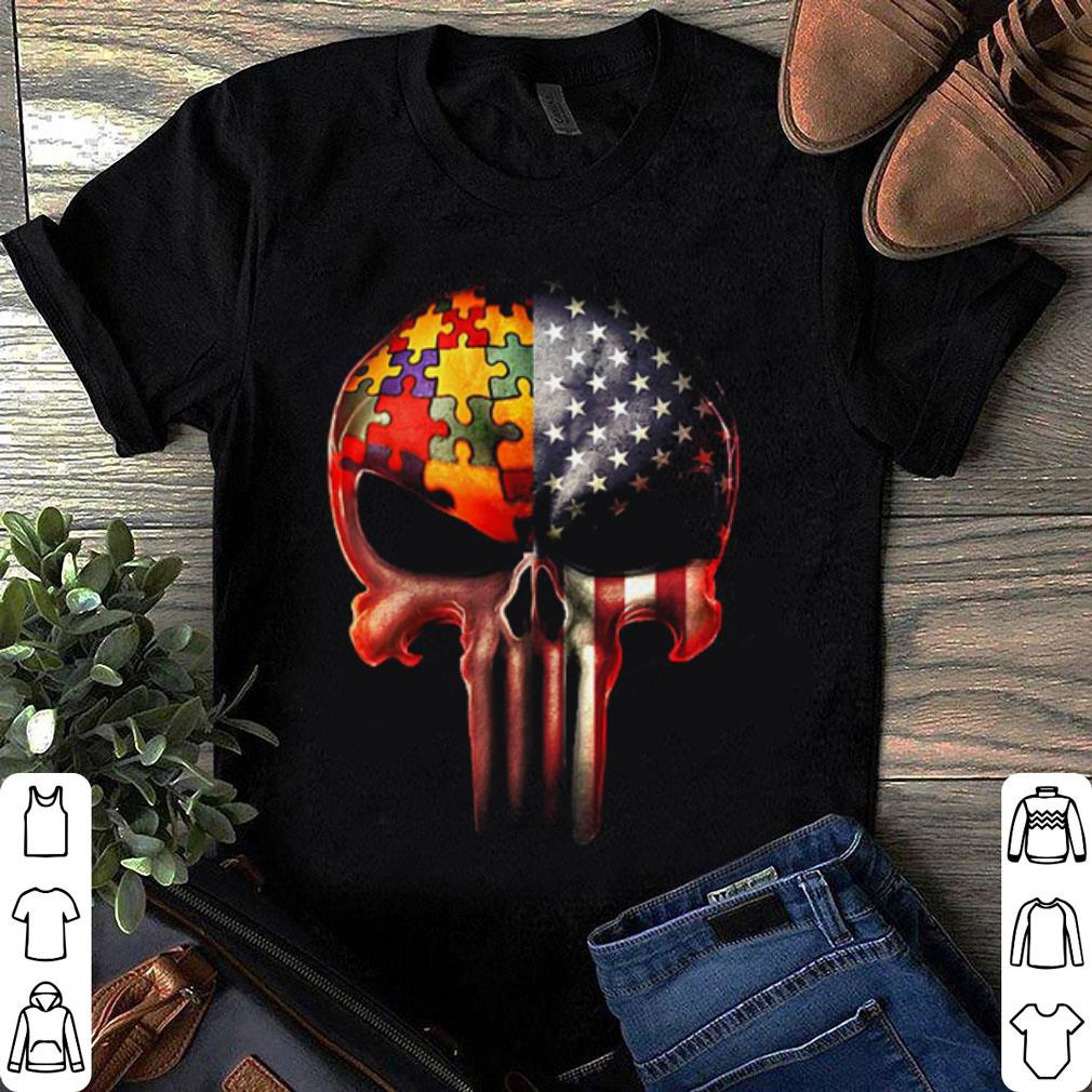 Autism Awareness America Flag skull shirt 1