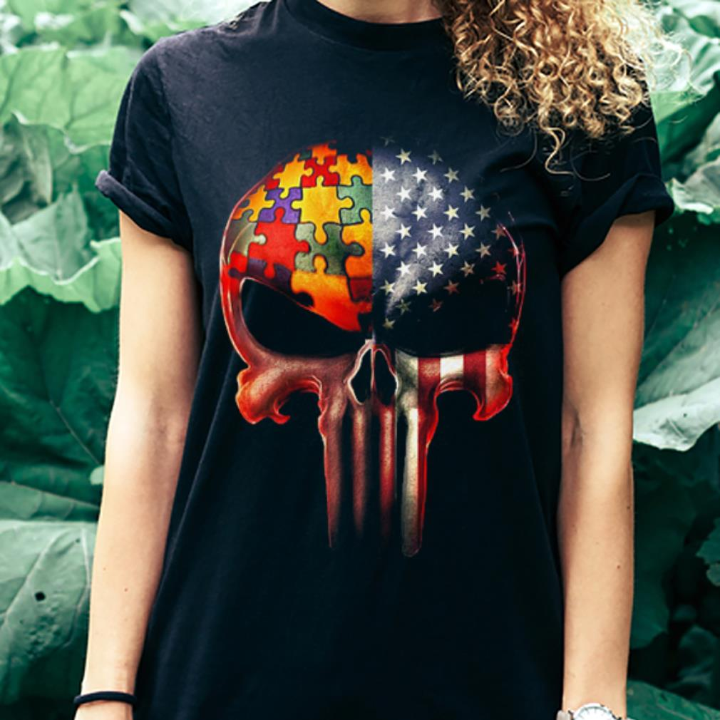 Autism Awareness America Flag skull shirt 3