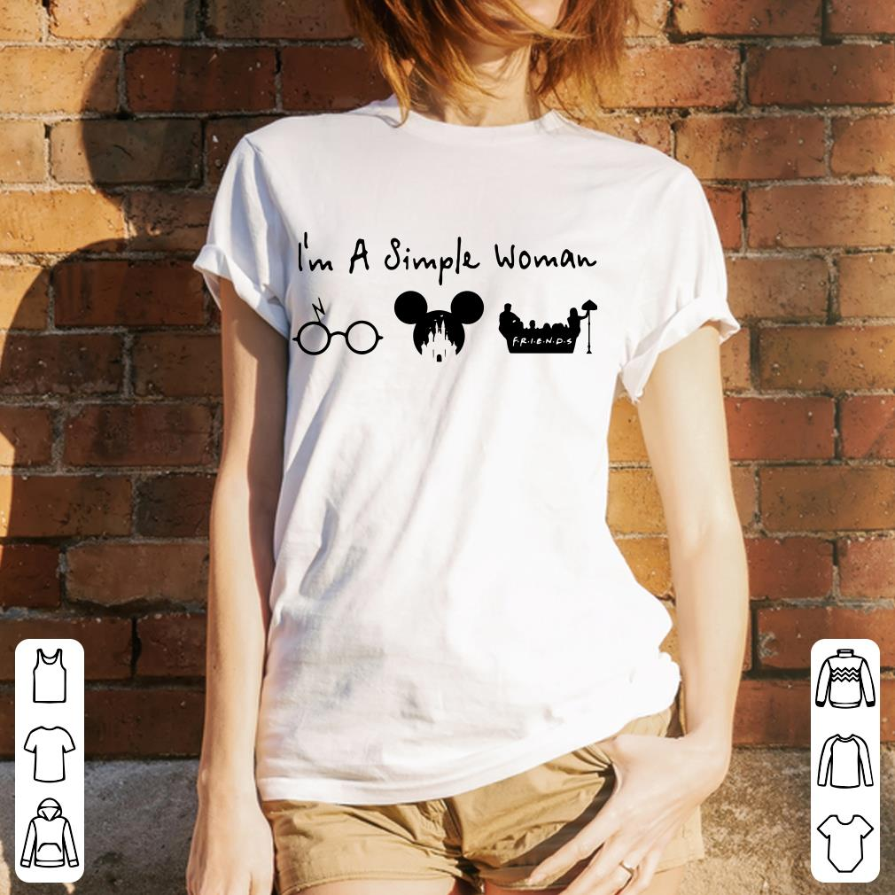I like Harry Potter, Disney and Friends because I'm a simple woman shirt 3