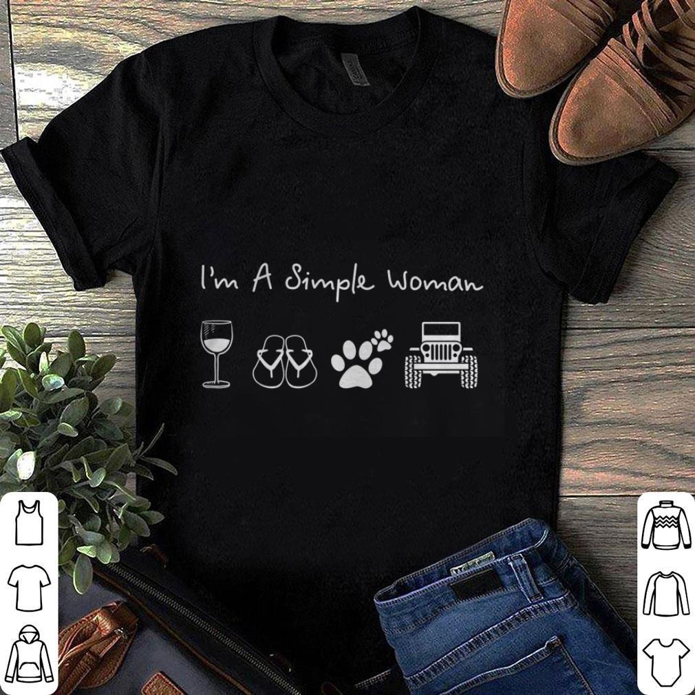 I'm a simple woman glass wine flip flop dog paw jeep shirt