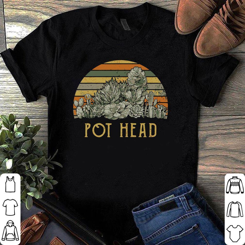 Sunset retro Cactus pot head shirt