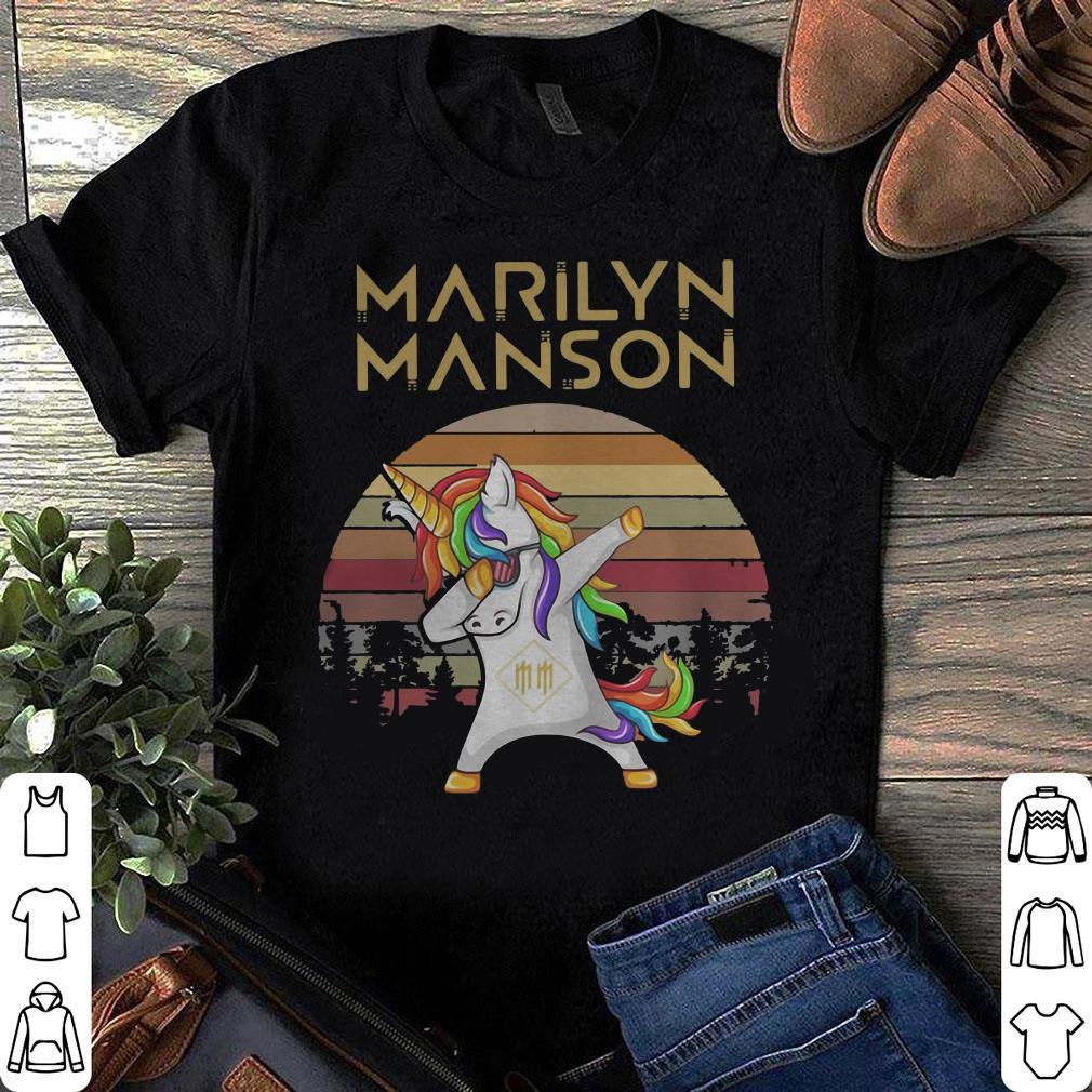Vintage Unicorn dabbing marilyn manson retro sunset kid shirt