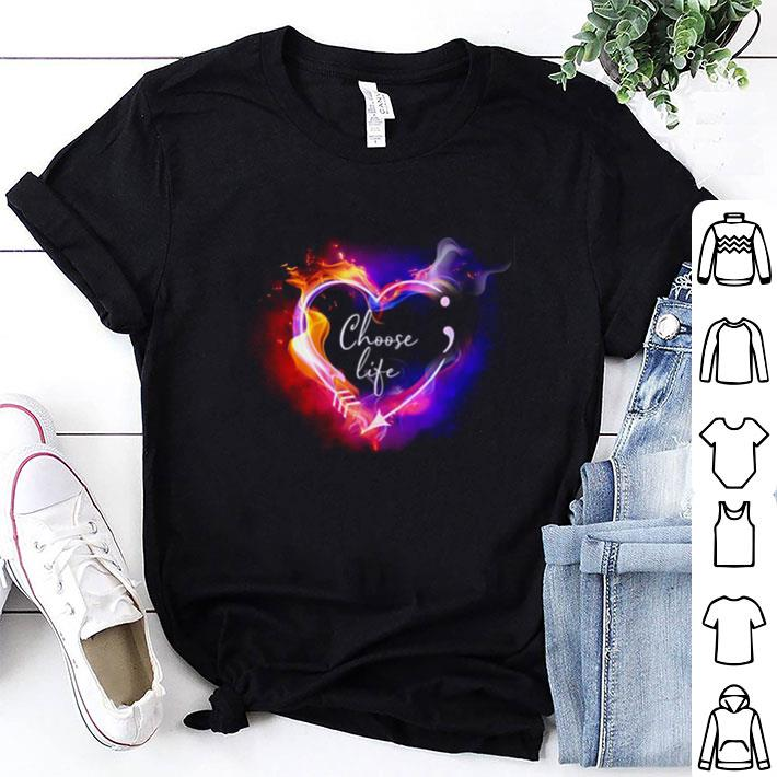 Heart Choose life semicolon arrow shirt