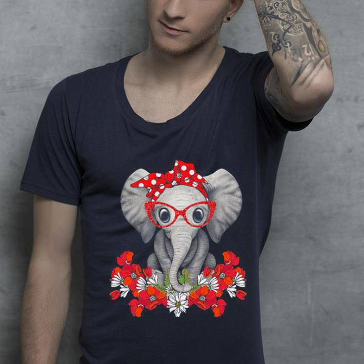 Elephant with flowers shirt