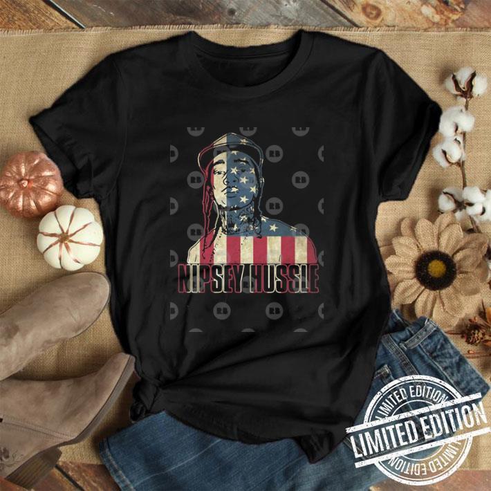 Rip Nipsey Hussle ilustration with flag America shirt