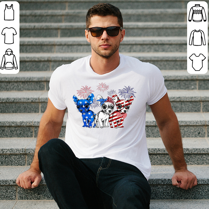 Blue white and red Chihuahua American flag shirt