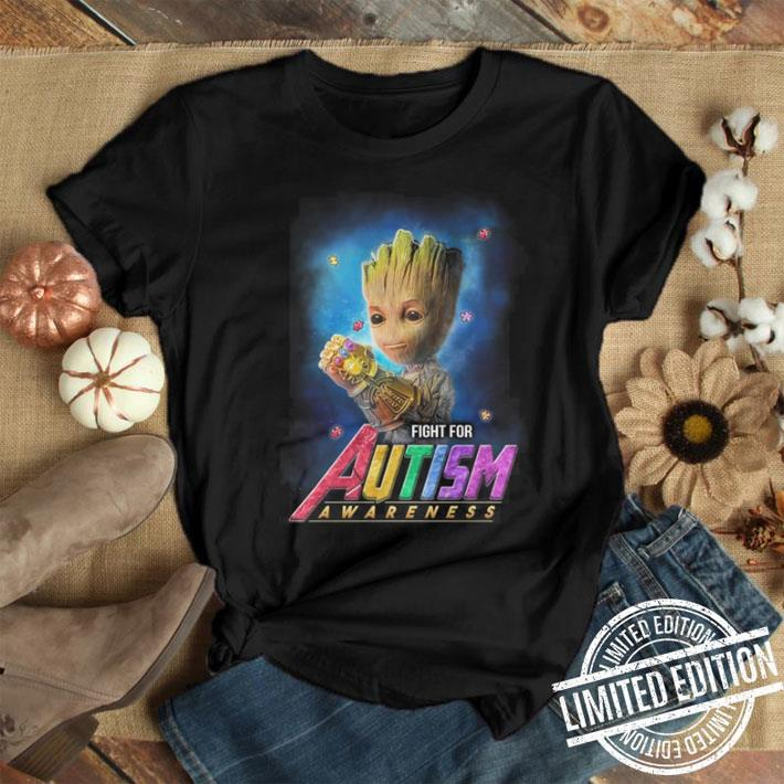 Infinity Gauntlet Baby Groot fight for Autism Awareness shirt
