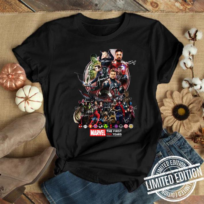 Marvel Avengers Endgame the first ten years signatures shirt