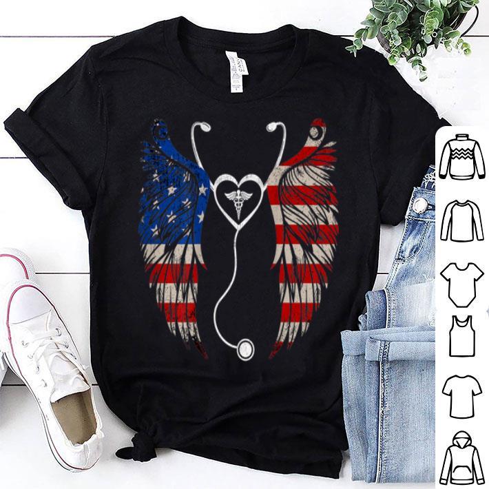 American Flag Proud Patriotic Nurse Wings 4th of July shirt