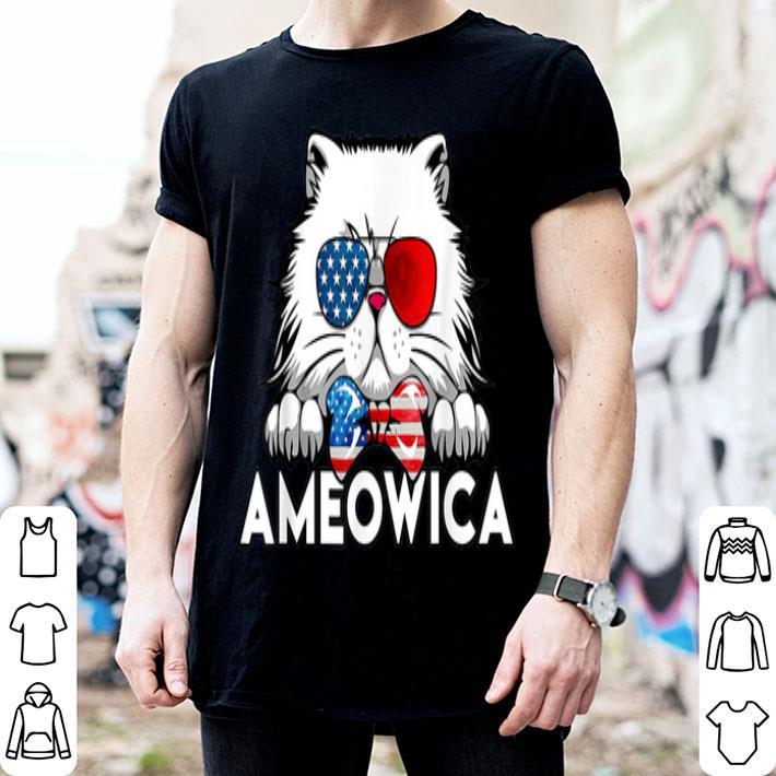 Cute Cat Ameowica American Flag 4th Of July Patriotic American Flag shirt