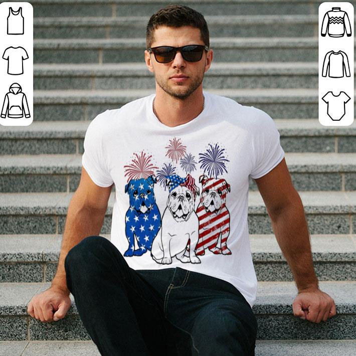 Fireworks Bulldog 4th of July independence day American flag shirt