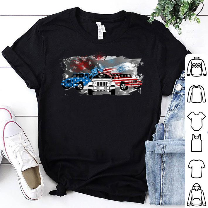Fireworks Jeep 4th of July independence day American flag shirt