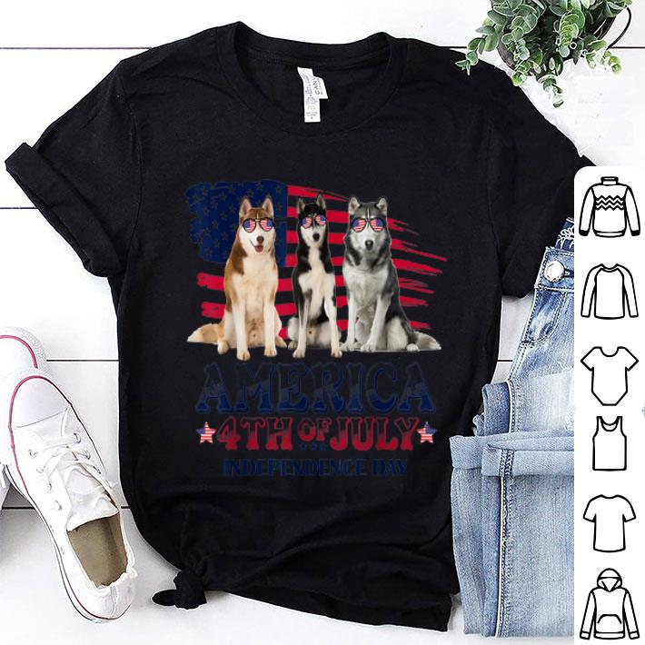 Husky America Flag 4th Of July Independence Day shirt