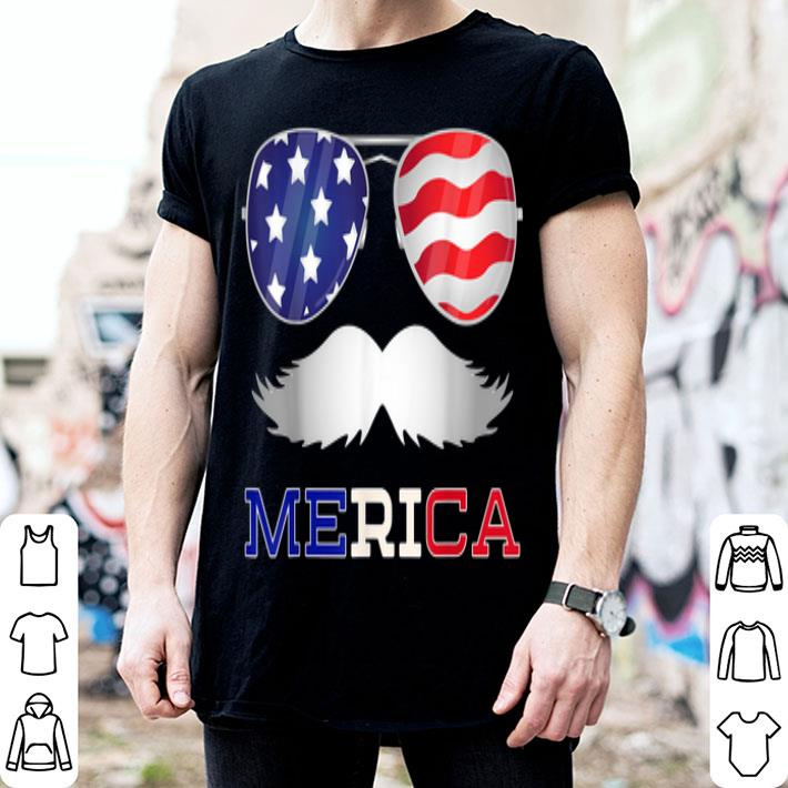 Merica Moustache Usa 4th Of July Sunglasses Outfit shirt