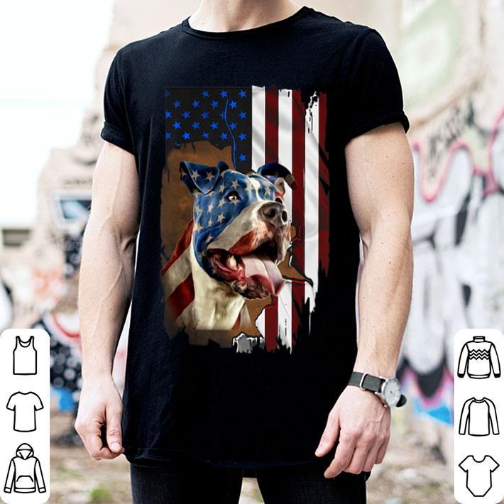 Pitbull Dog colors American flag shirt
