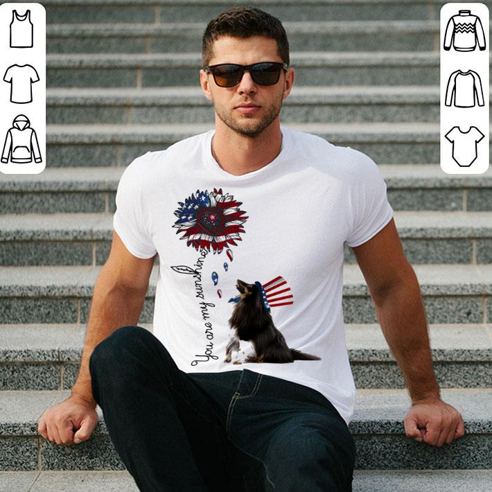 Sheltie you are my sunshine American flag shirt