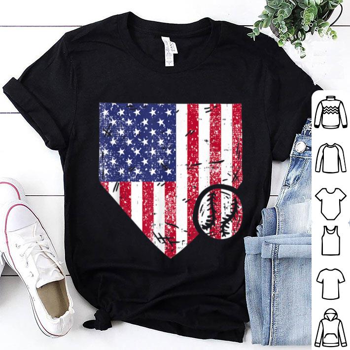 Softball Player American Flag Themed 4th Of July shirt