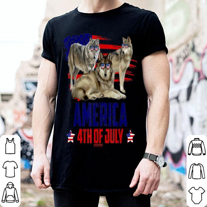 Wolf Patriotic American America 4th Of July shirt