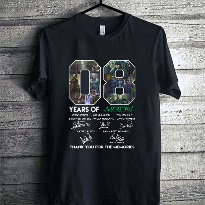 08 years of Arrow signatures thank you for the memories Stephen Amell shirt 1