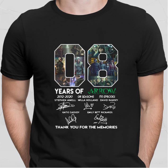 08 years of Arrow signatures thank you for the memories Stephen Amell shirt