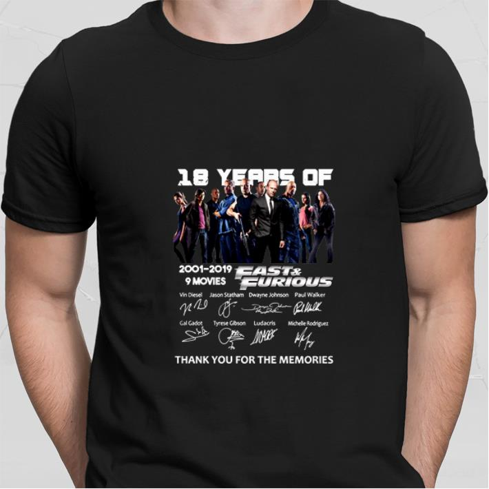 18 year of Fast & Furious 2001-2019 9 movies signatures shirt sweater