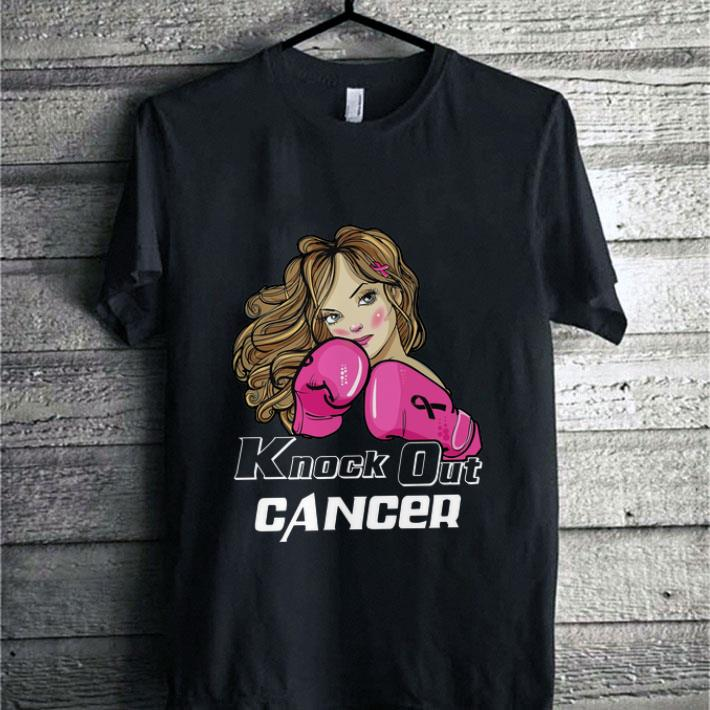 Girl Boxing knock out Breast cancer awareness shirt