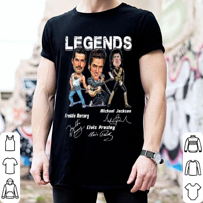 Legends Freddie Mercury Michael Jackson Elvis Presley Signatures shirt