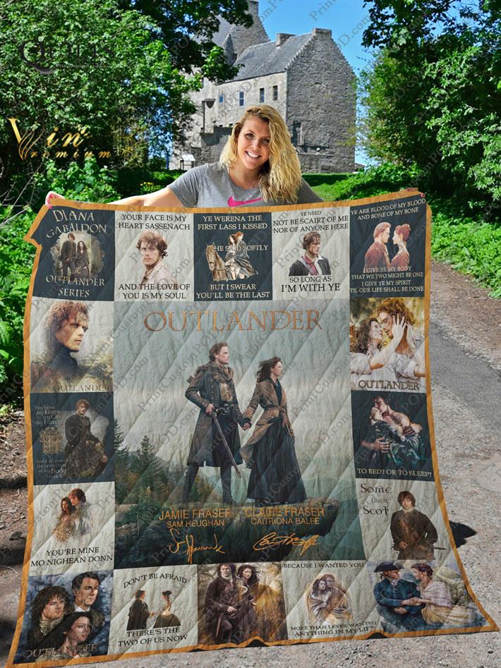 Outlander TV Series Claire Fraser Jamie Fraser signature quilt blanket