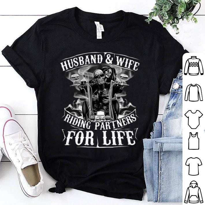 Skull Biker Husband & wife riding partners for life shirt