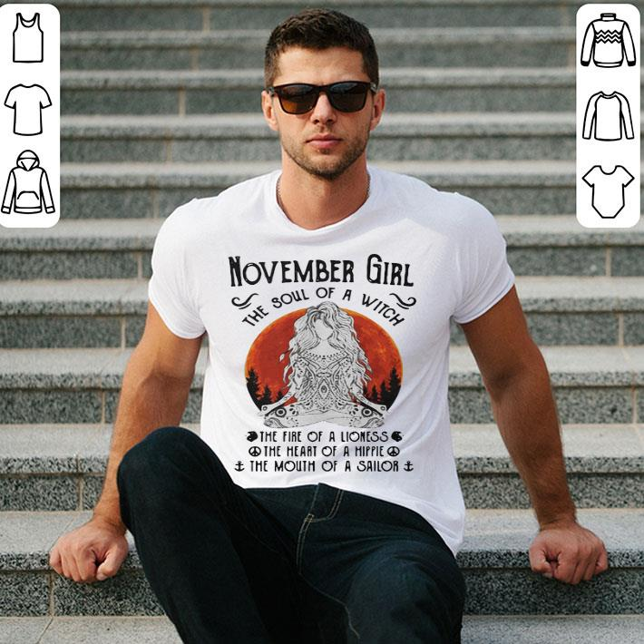 Yoga November girl the soul of a witch the fire of a lioness shirt