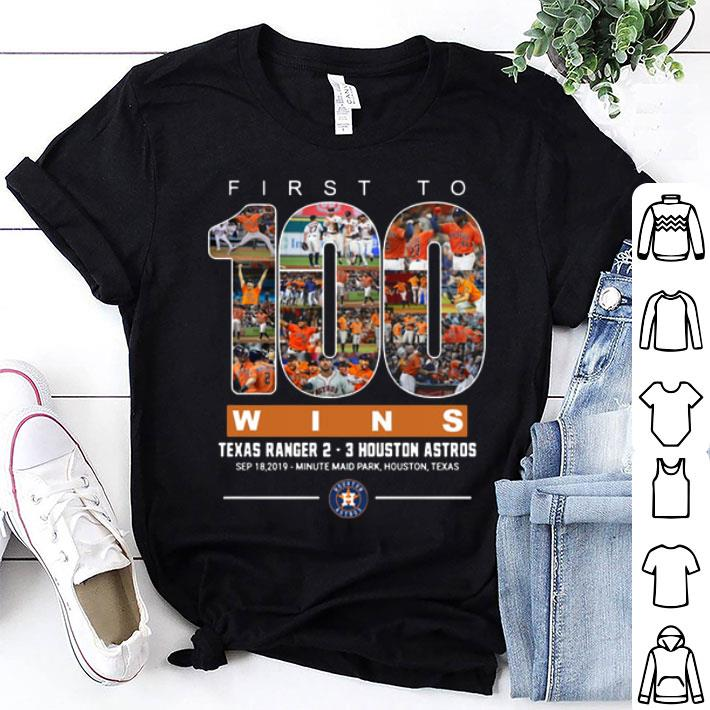 First to 100 wins Texas Ranger Houston Astros shirt