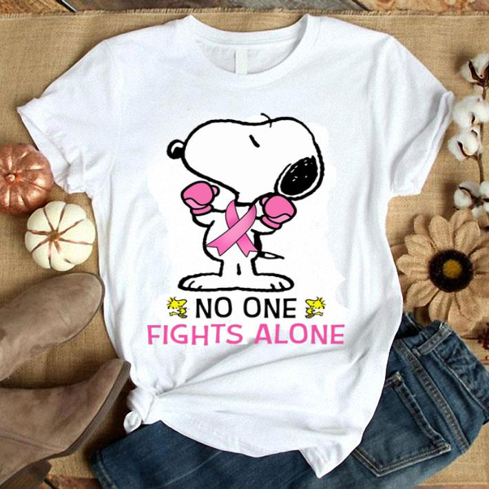 Snoopy no one fights alone Breast Cancer Awareness shirt