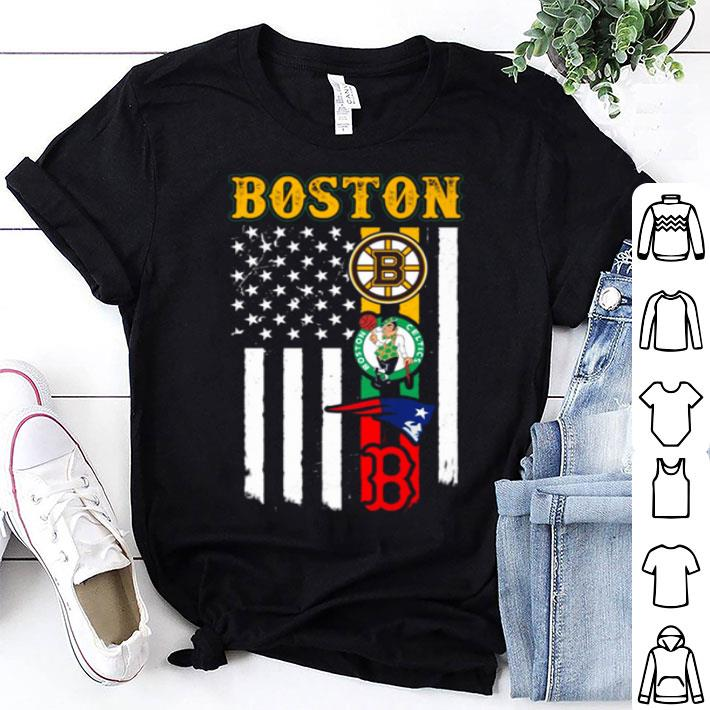 American flag Boston Bruins Celtics Patriots Red Sox shirt