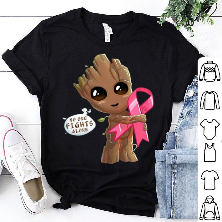 Baby Groot hug Breast Cancer no one fights alone shirt
